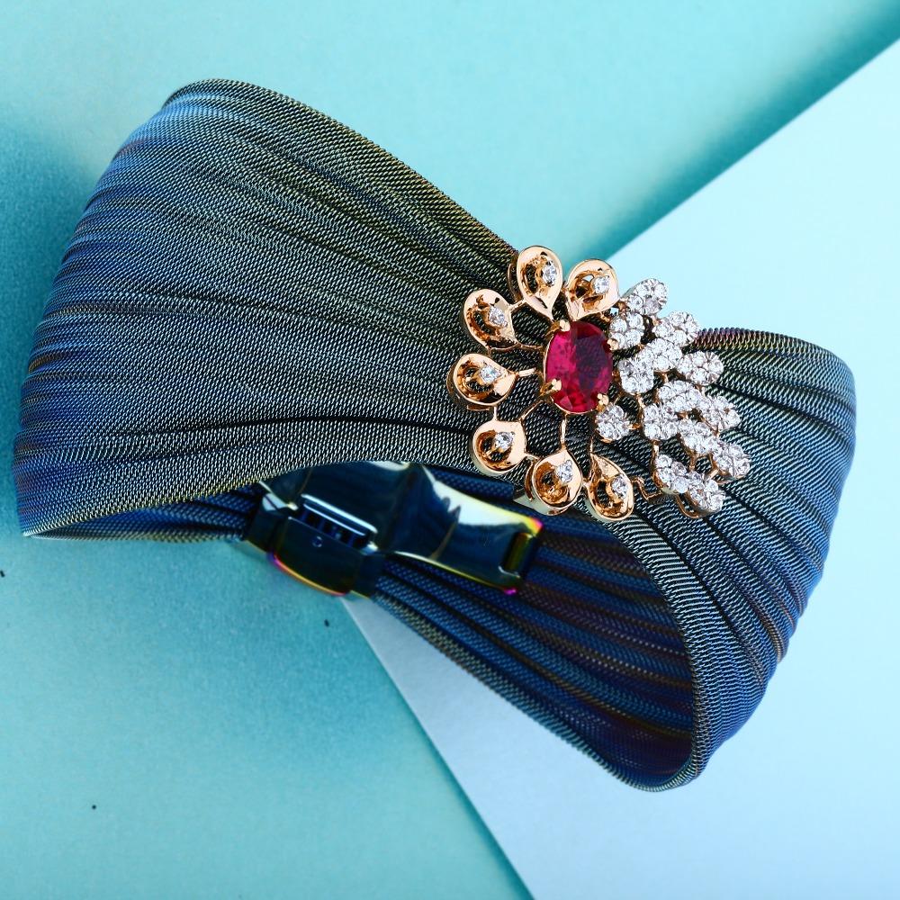 18KT Rose Gold New Antique Flower Design Bracelet