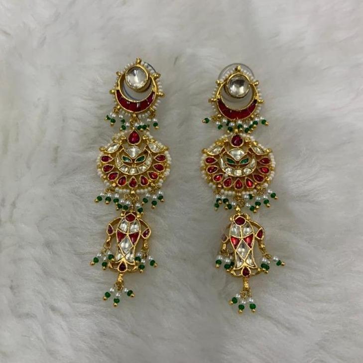 Chandbali Hanging Kundan Earrings