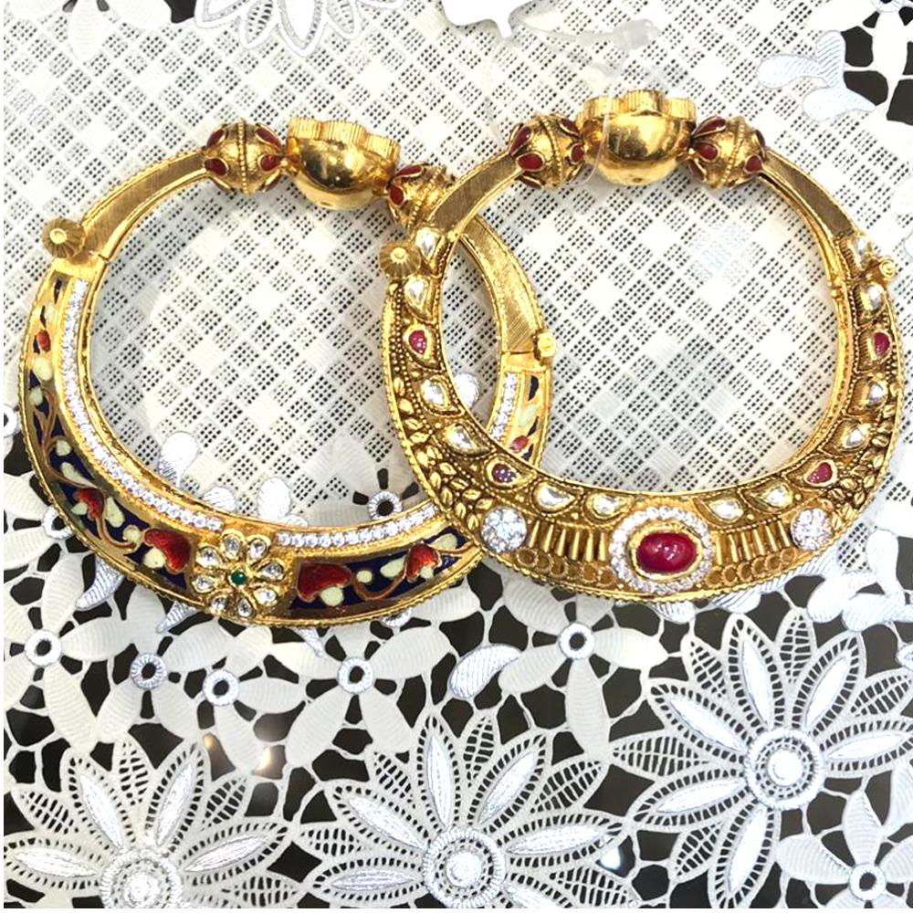 22KT Gold Antique Kundan Kada