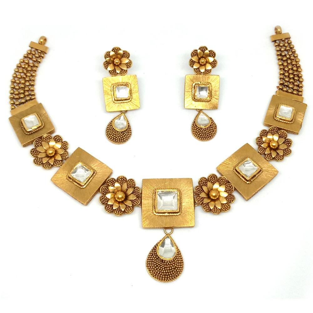 916 Flower Design Gold Antique Necklace Set LJ-00