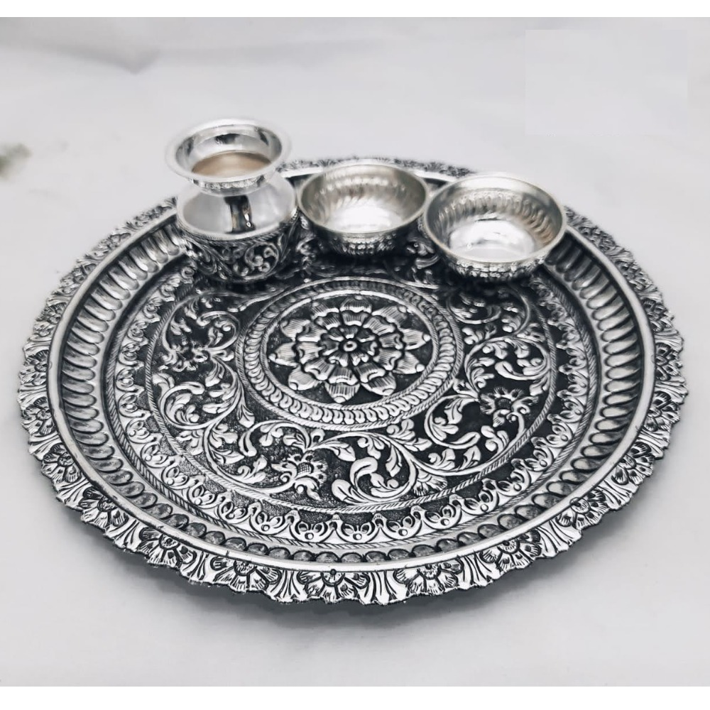 925 Pure Silver Antique Pooja Thali Set PO-263-25