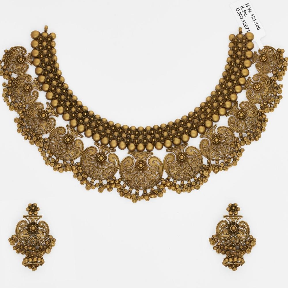 916 Gold Jadtar Necklace Set SJ-9658