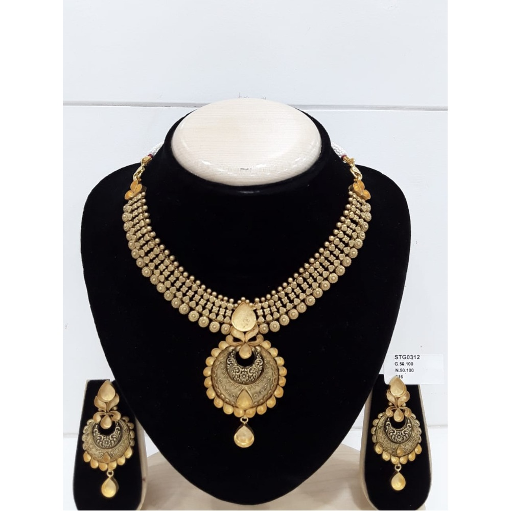 916 Gold Mani Moti Khokha Necklace Set VJ-N009