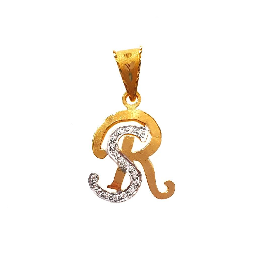 22k gold monogram (letter sr) pendant mga - mgp001
