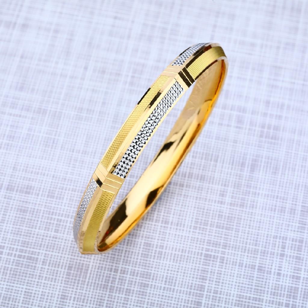Mens 22K Gold Punjabi Rodium Kada Bracelet-MPKB13