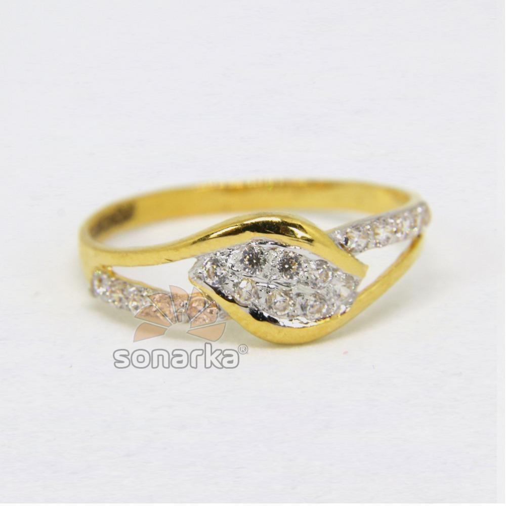 22ct 916 Gold Casting CZ Diamond Ladies Ring with Rodihum