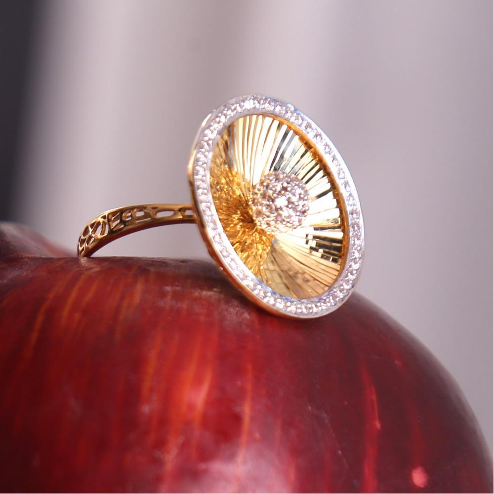 916 gold cz daimond cocktail ladies ring