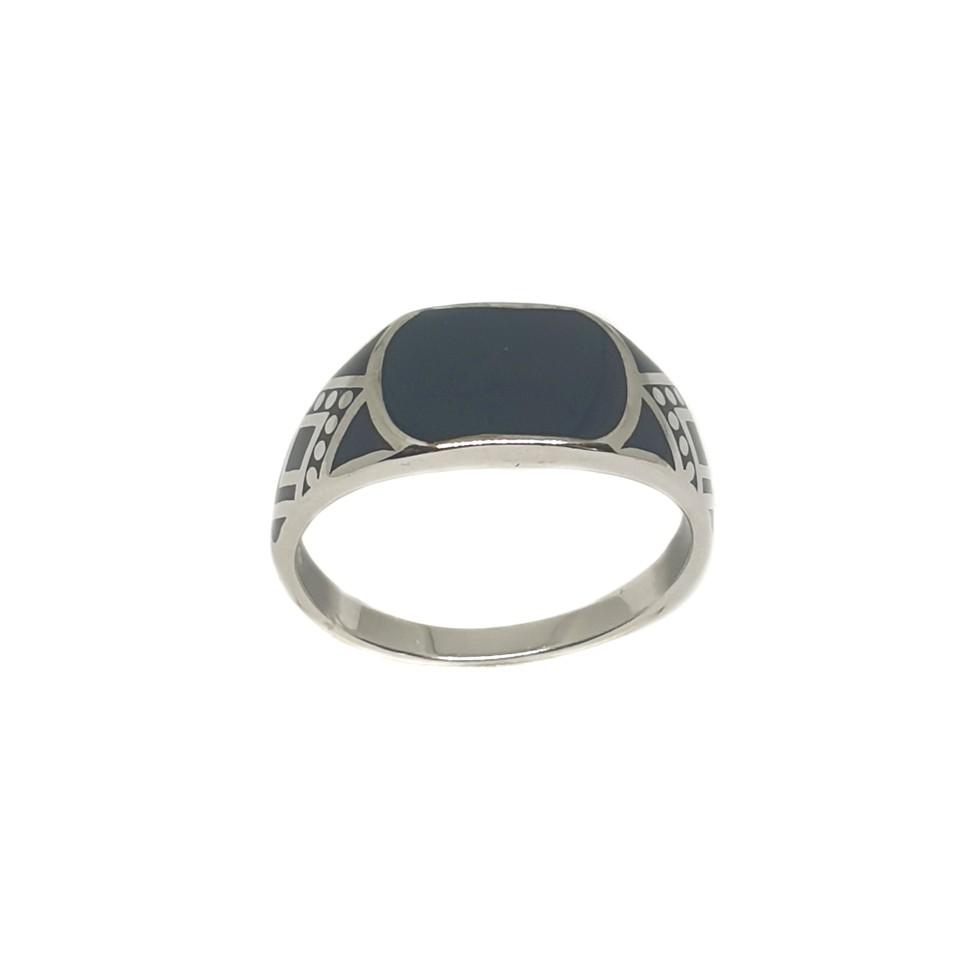 925 Sterling Silver Black Meenakari Ring MGA - GRS2145