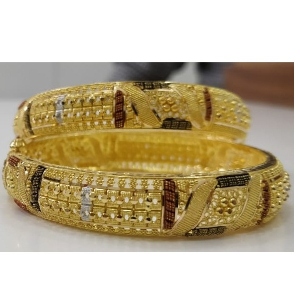 916 Gold Antique Designer Calcutta Bangles