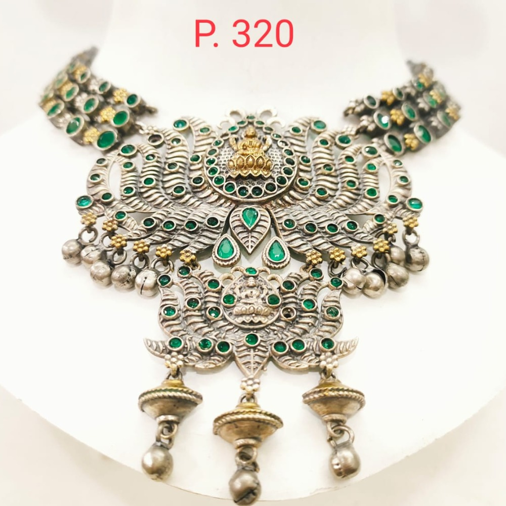 Antique oxidised silver with gold tone laxmiji design emerald stone necklace 1671