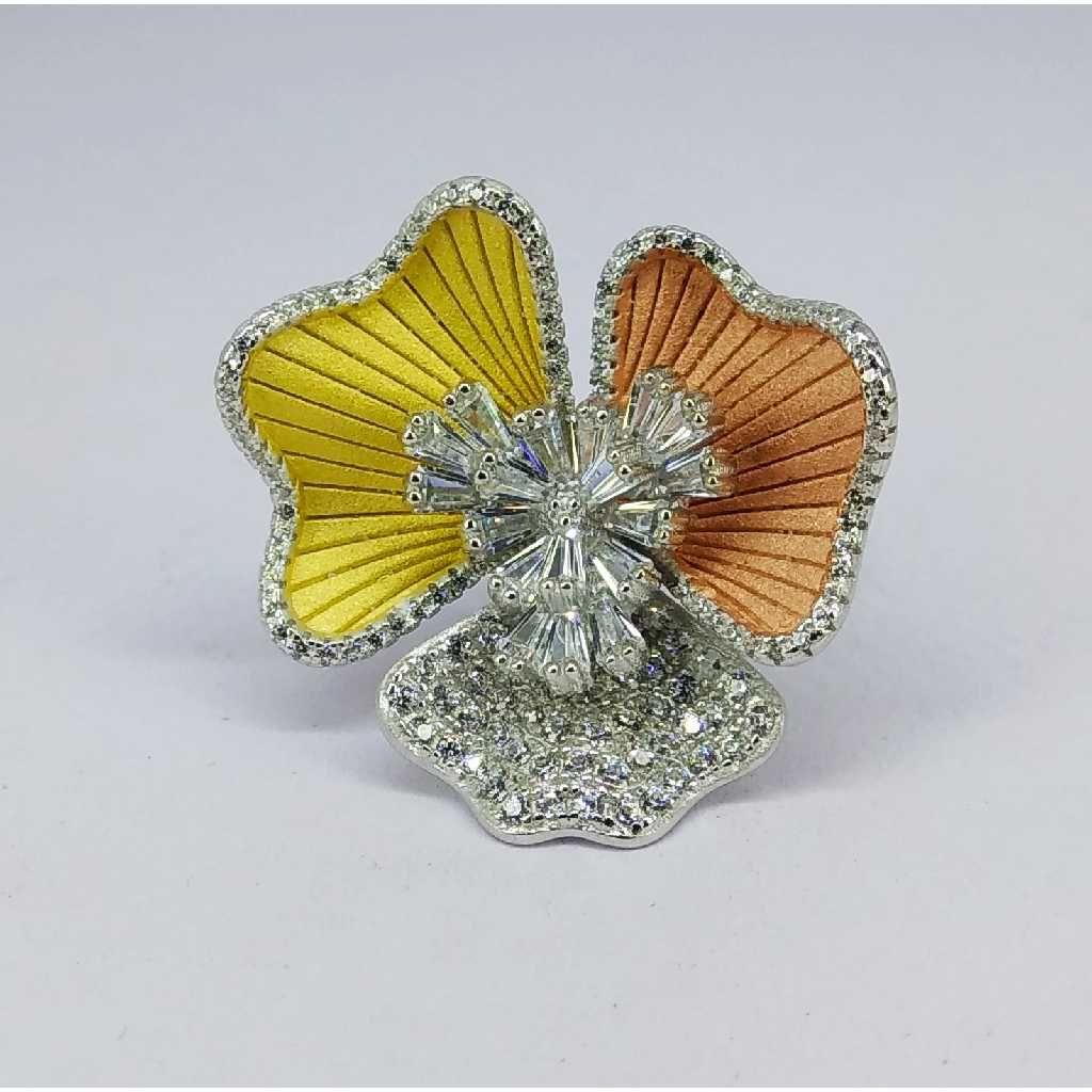 Tri colour 92.5 silver ring MG-R002