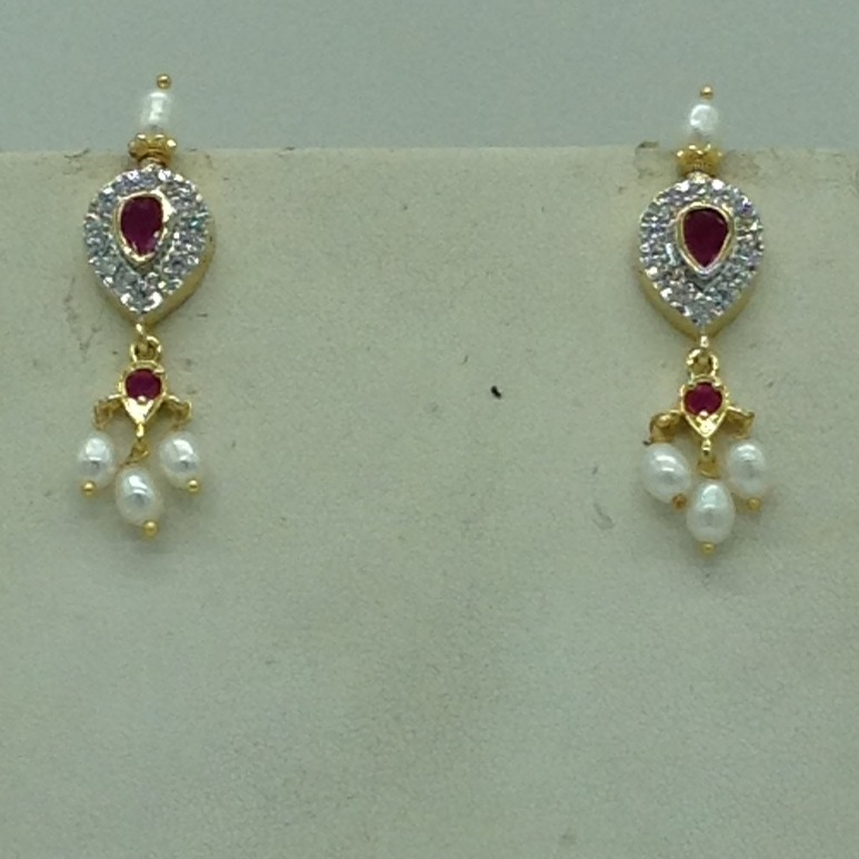 White,Red CZ and Pearls Choker Set With OvalPearls Mala JPS0629