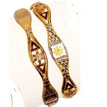 22K / 916 Yellow Gold Designer Flower Vakiya Kadli
