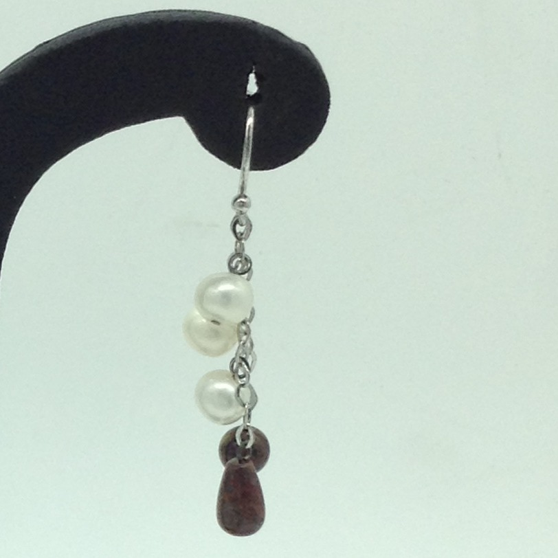 Pearl Semi SilverEar HangingsJER0161