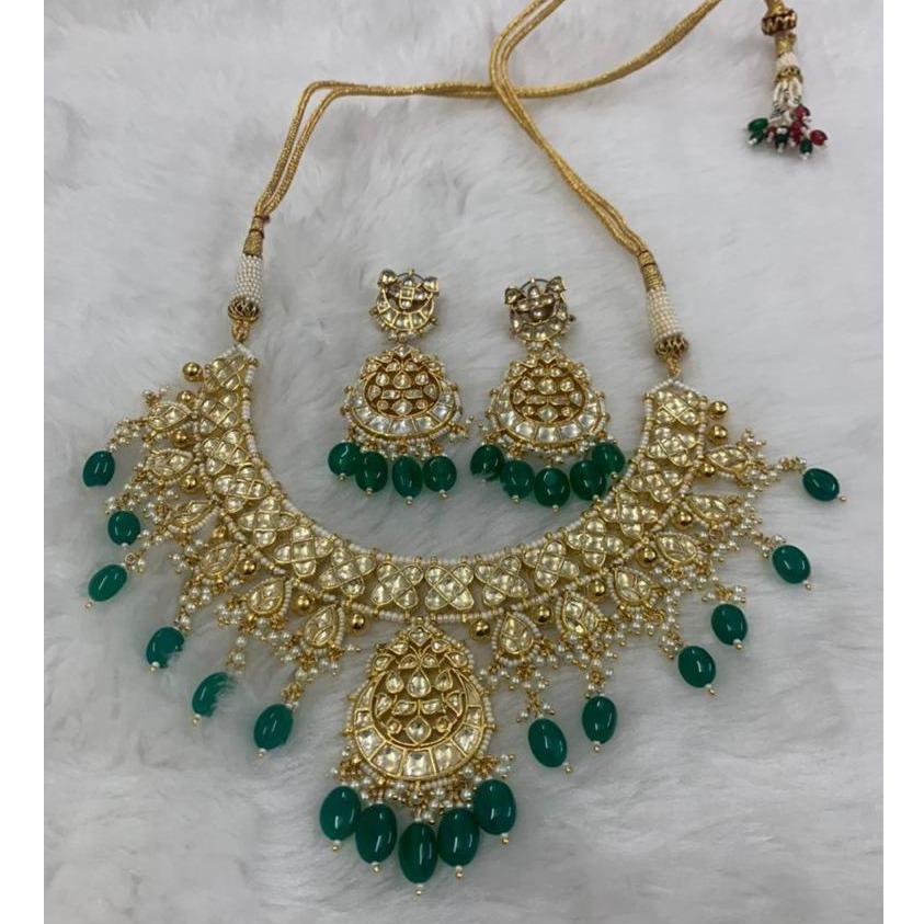 Imitation Green Stone Necklace Set For Wedding