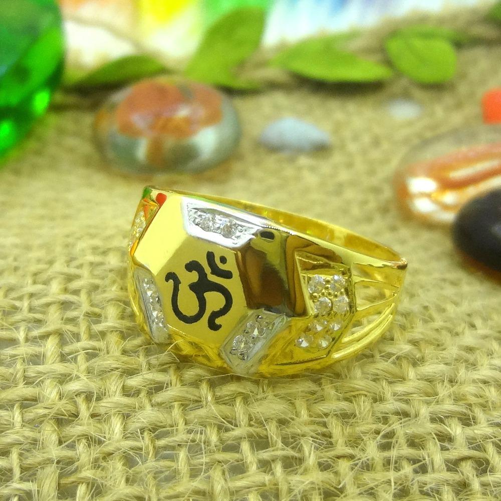 916 gold cz diamond om design gents ring