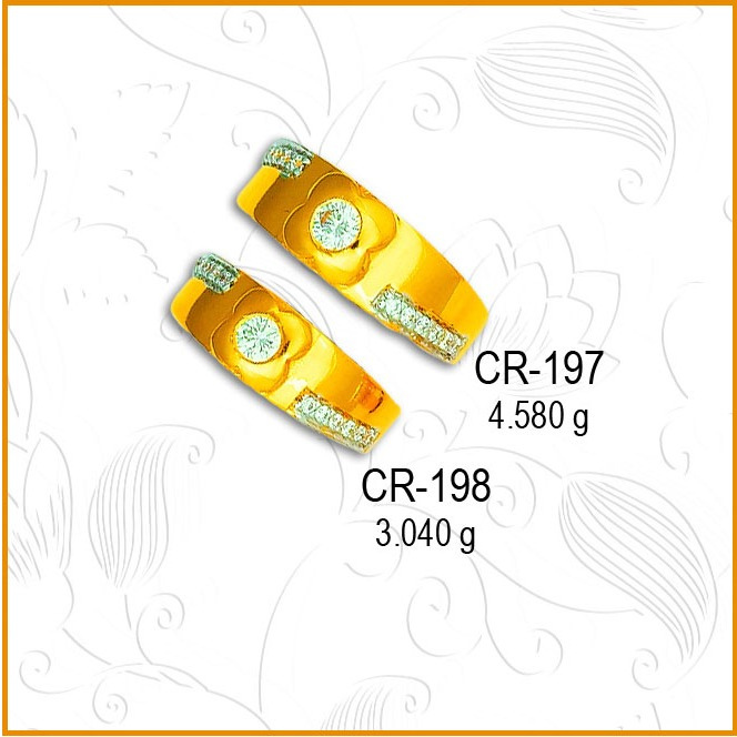 916 Gold Flower Design CZ Couple Ring CR-197