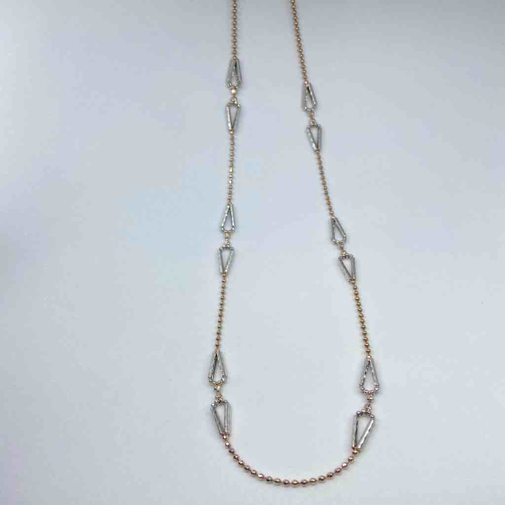 18 karat rose gold, two toned, twin triangle chain for women