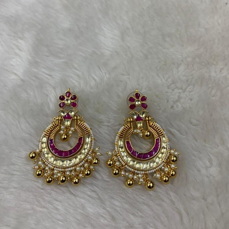Designer White & Pink Stone Chandbali Earrings