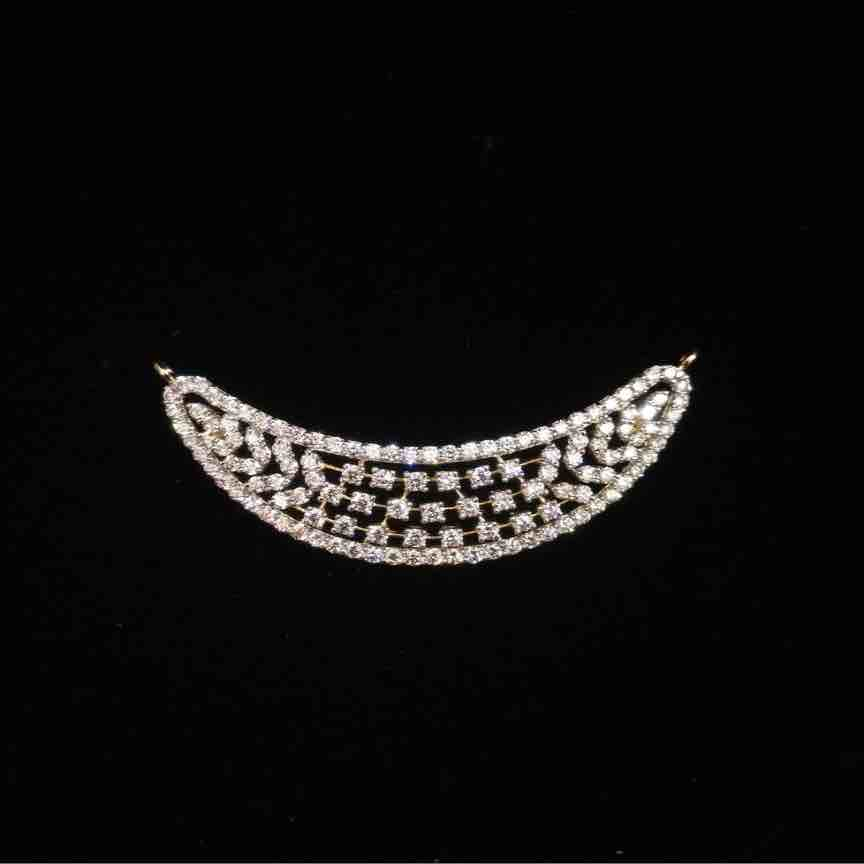 18KT Gold Antique Designer Real Diamond Mangalsutra Pendant
