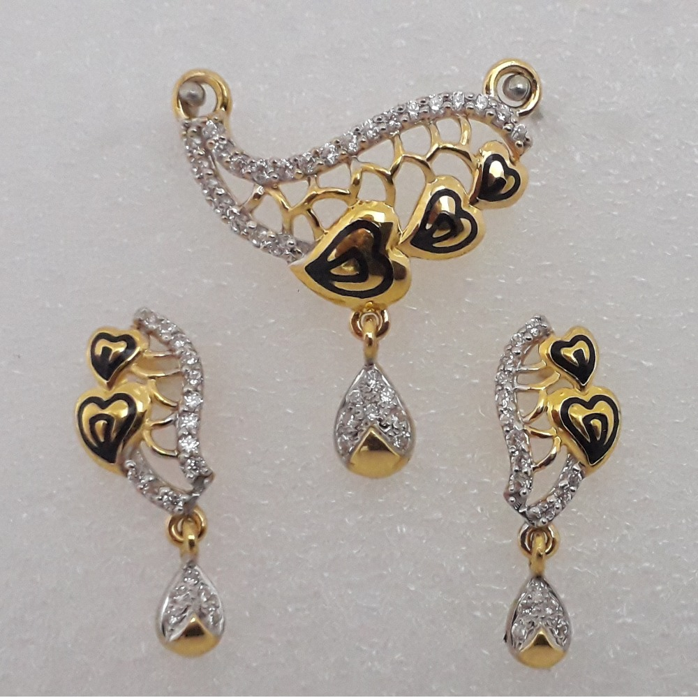 916 Gold Antique Heart Design Mangalsutra Pendant Set MJ-PS011