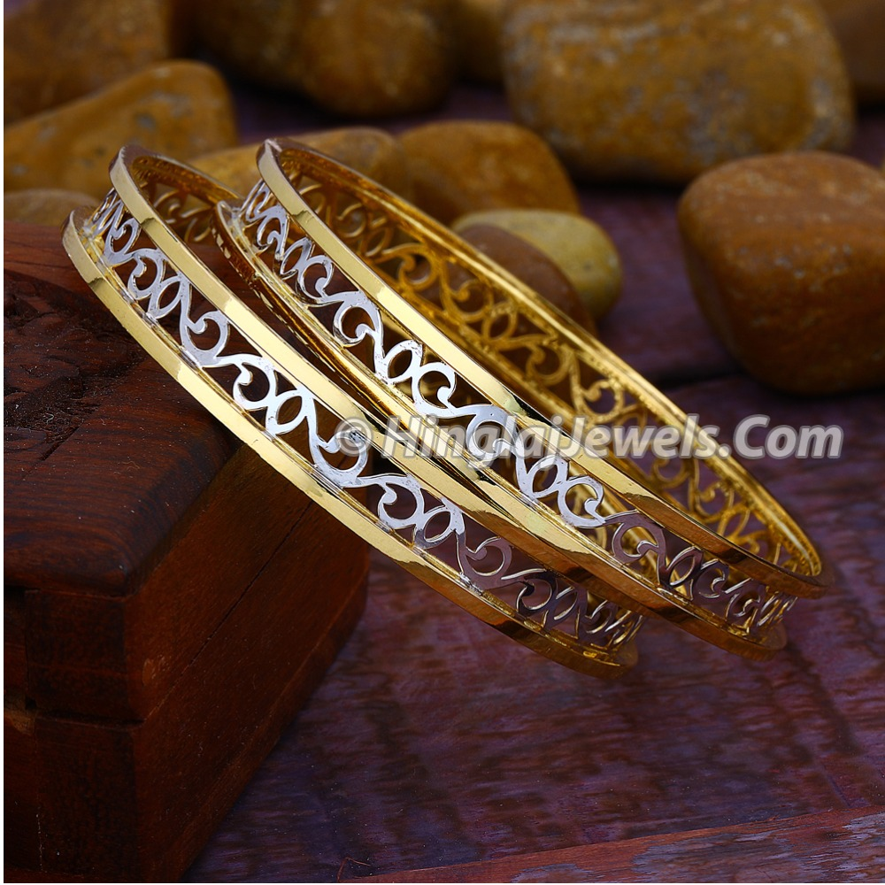 916 Gold Modern Double Pipe Copper Kadali Bangle HJ-5821