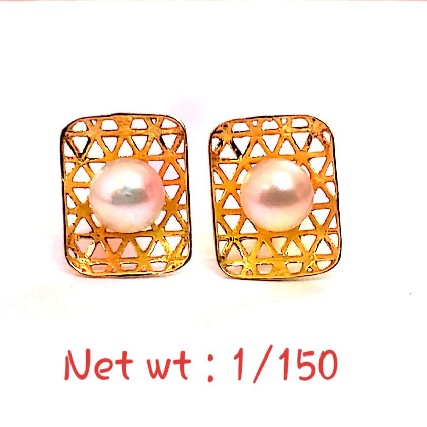 18kt gold stud pearl earrings