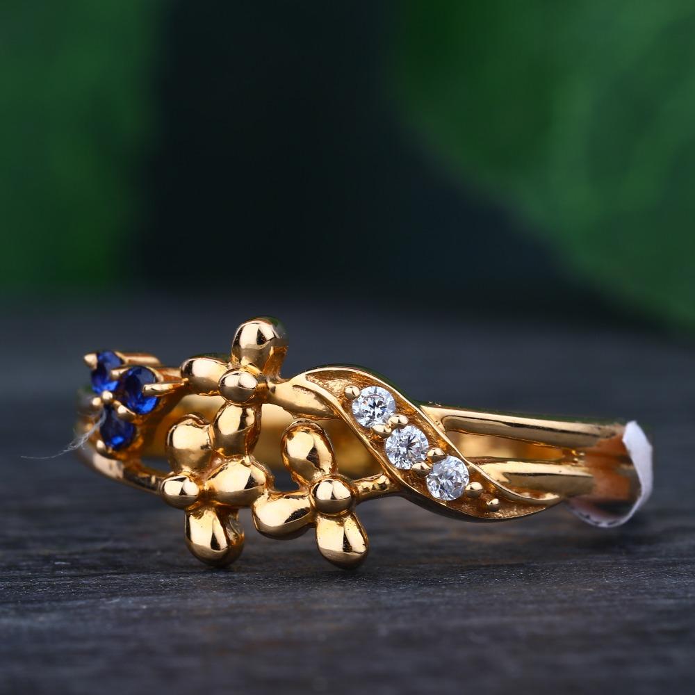 916 Gold Hallmark Colorful Stone Design Ring