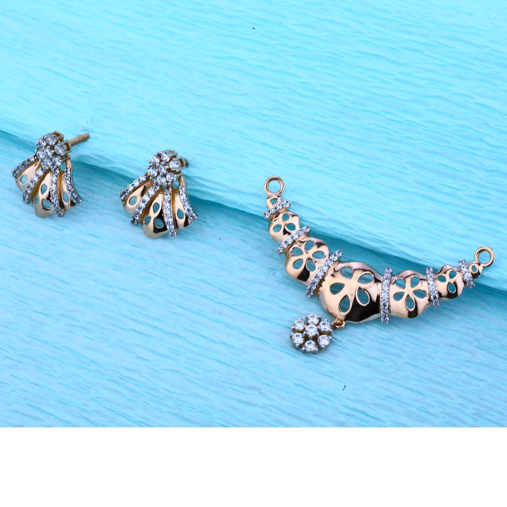 18KT Rose Gold Ladies Hallmark Designer Pendant Set  RMPN48