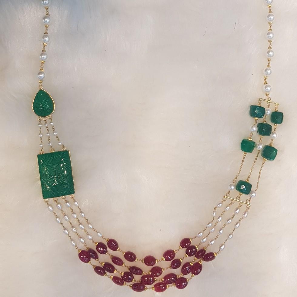 22KT Gold light weight Coloured Beads with Panna Manek