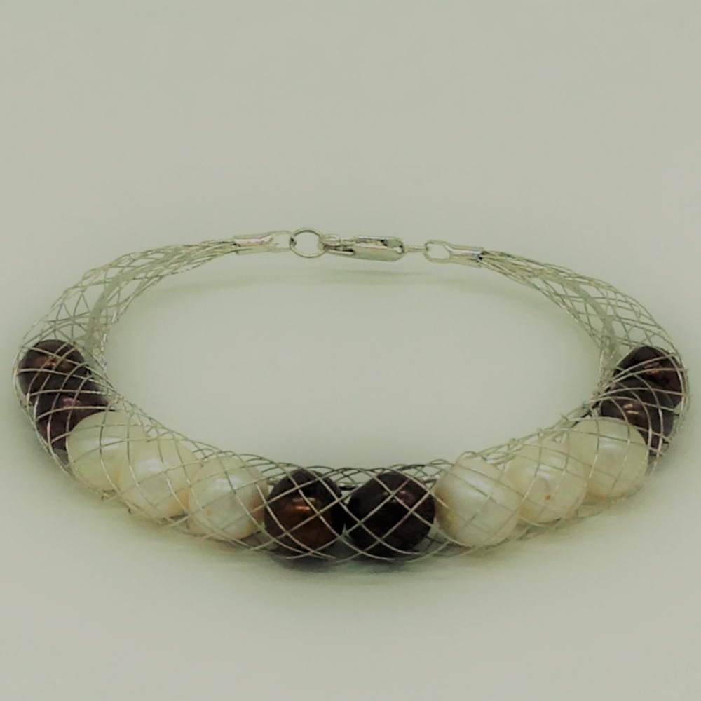 White and brown potatopearls wire meshbraceletjbg0203