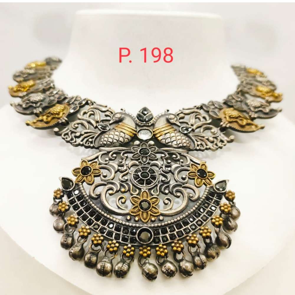 Antique oxidised silver with Gold Plated & Black stone Choker Necklace set 1668