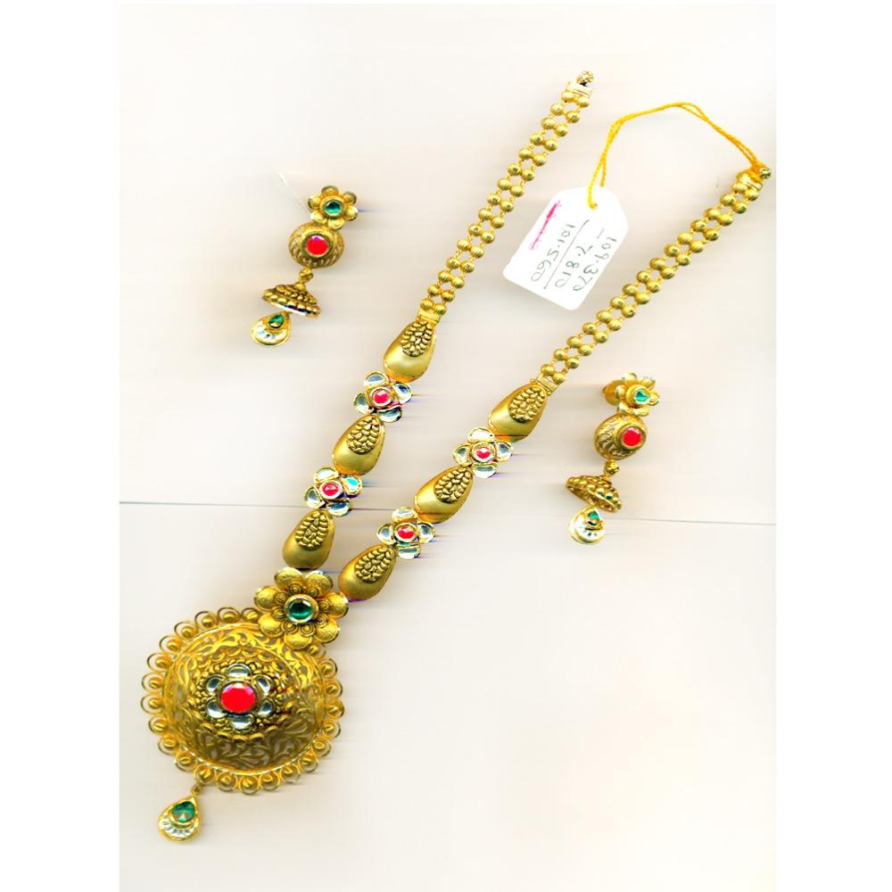 916 Gold Attractive Flower Design Long Bridal Necklace Set-27