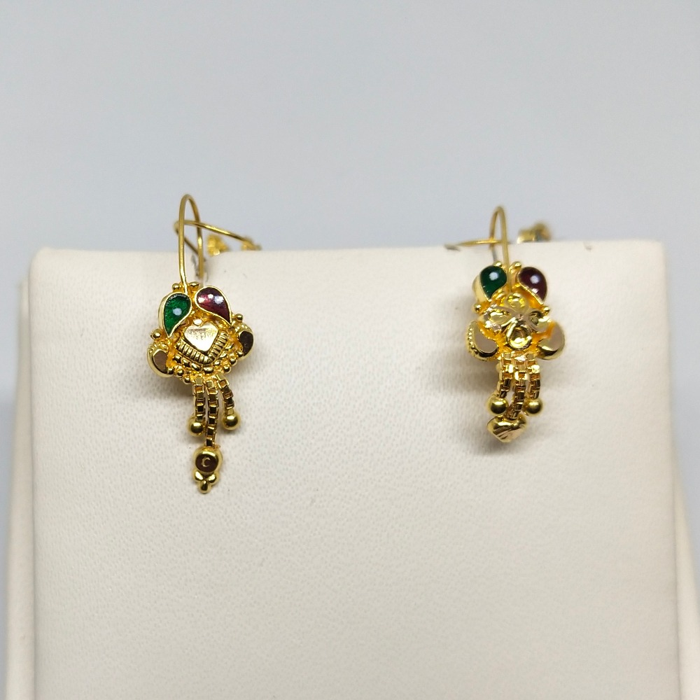 18Kt gold colorful earring dj-e023