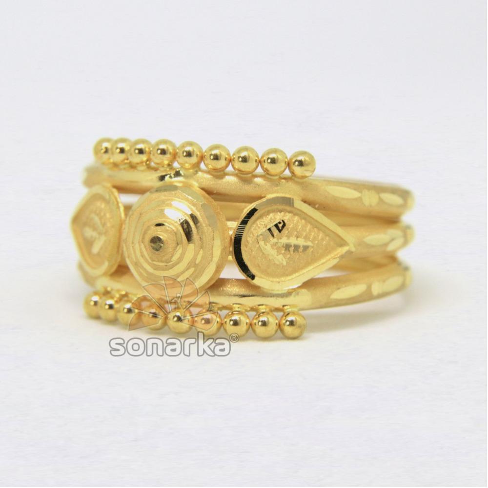 22ct 916 Yellow Gold Ladies Ring Indian Triple Pipe Fancy Kaida