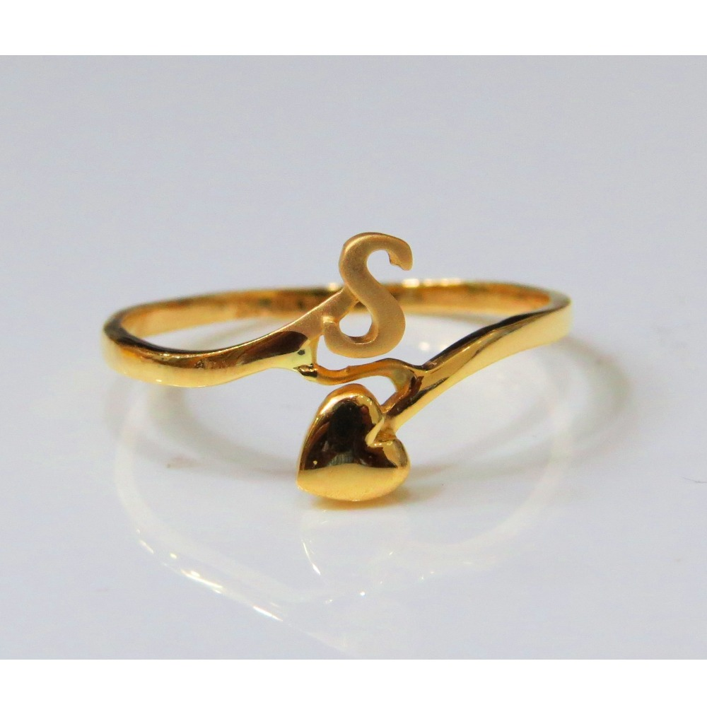 22kt Gold Plain Casting S initial Ladies Ring