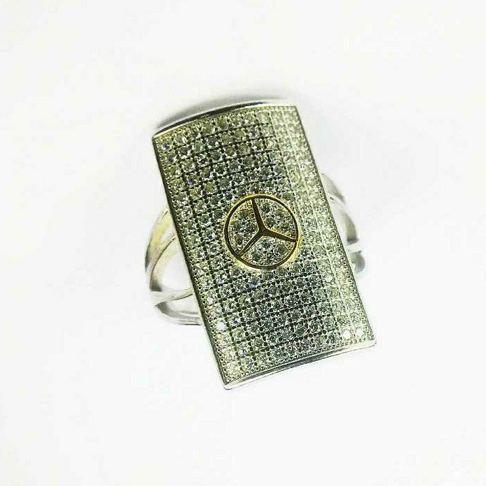 Fancy 925 Silver Ladies Ring With Mercedes