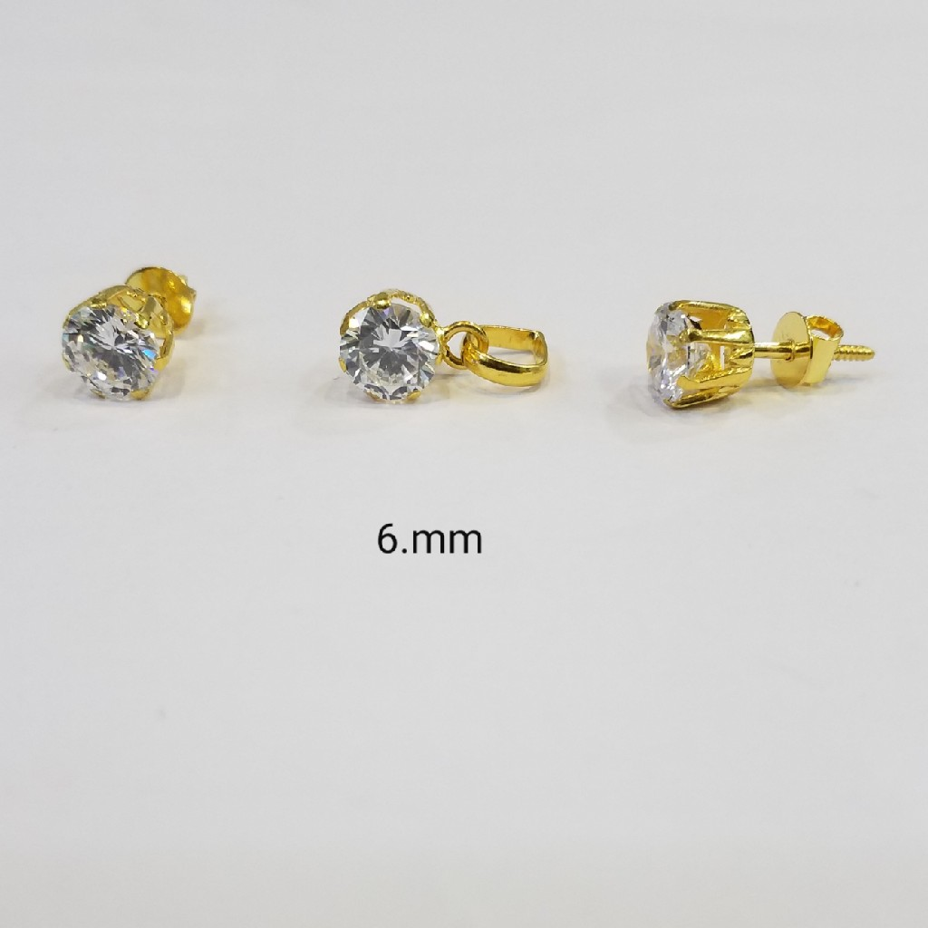 22kt gold c ston pendant set OL9091