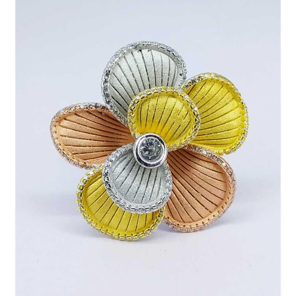 Tri colour 92.5 silver ring MG-R005