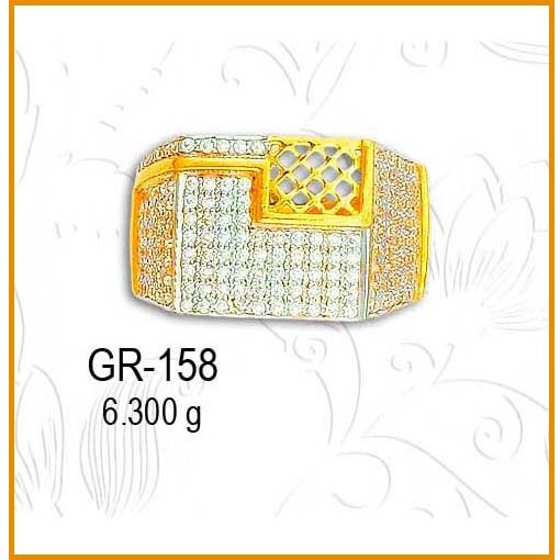 22KT Gold Attractive CZ Diamond Gents Ring GR-158
