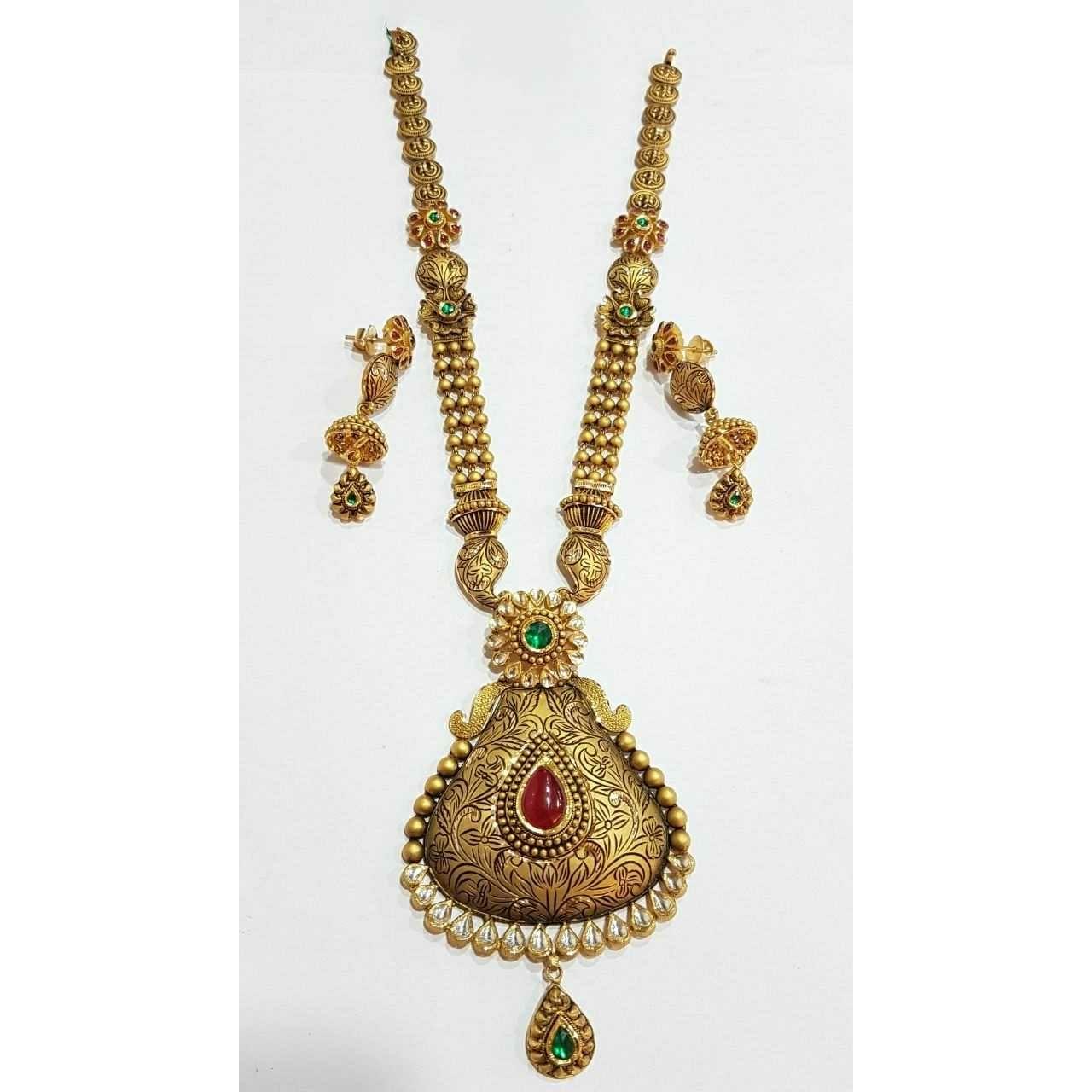 Antique Gold N Jadtar Set: Necklace Set Hub, Gold Jewelry Manufacturer Hub