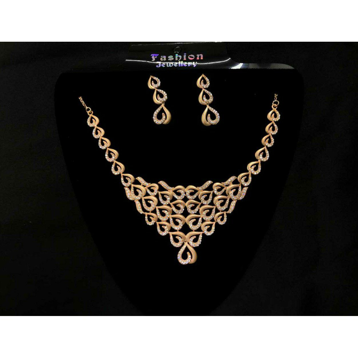92.5 Sterling Silver Micro Rose Gold Heavy Weight Necklace Set Ms-3931