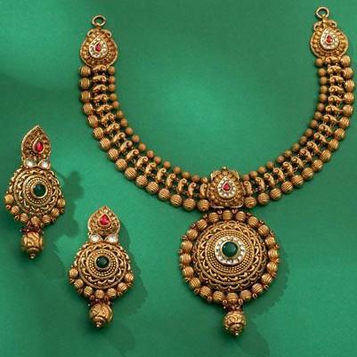 22KT / 916 Gold antique Bridle necklace set for Ladies STG1012