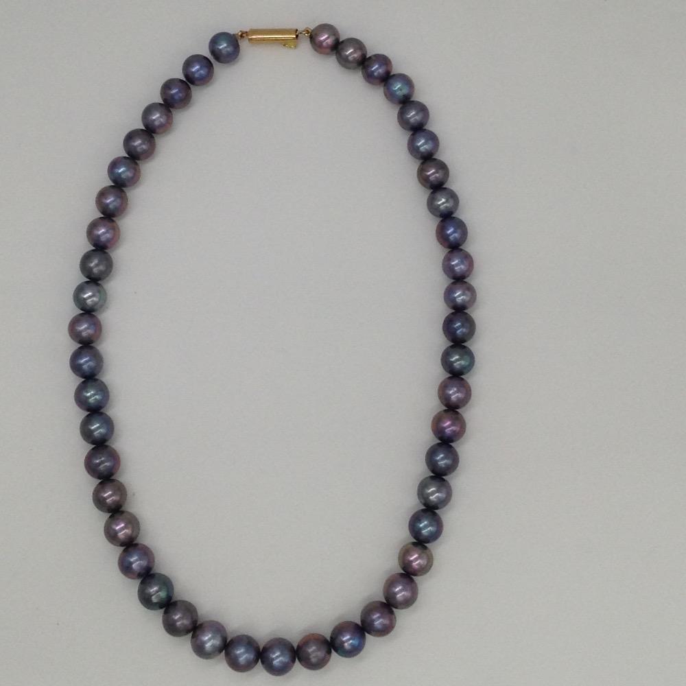 Freshwater grey round natural pearls strand