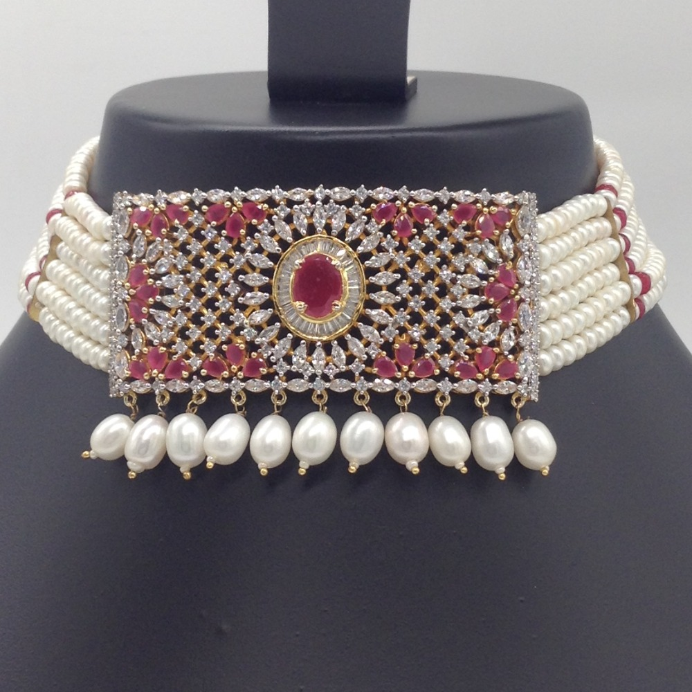Red,White CZ And Pearls ChokerSet With 6Line FlatPearls Mala JPS0543
