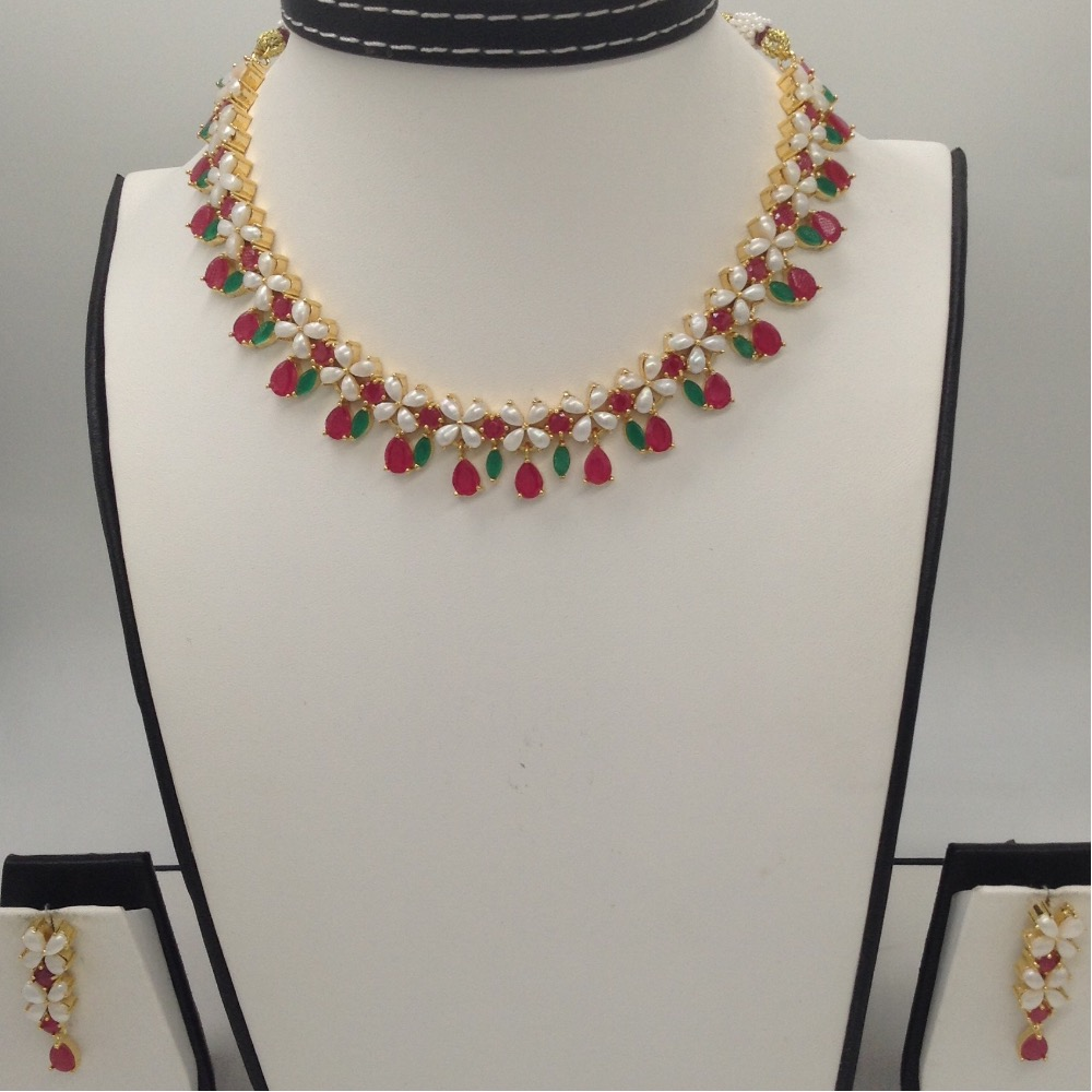 Freshwater Drop Button Pearls And Red Green CZ Stones Necklace Set JNC0062