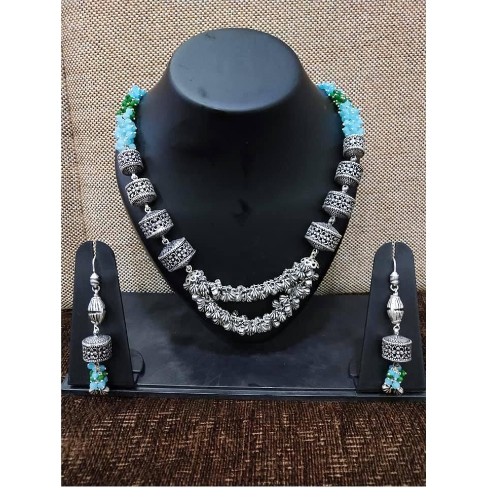 925 Silver Oxidized Traditional Necklace Set VJ-N006