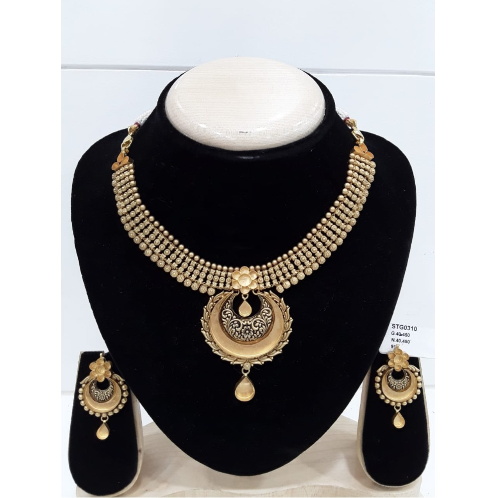 916 Gold Kundan Jewellery Khokha Necklace Set VJ-N007