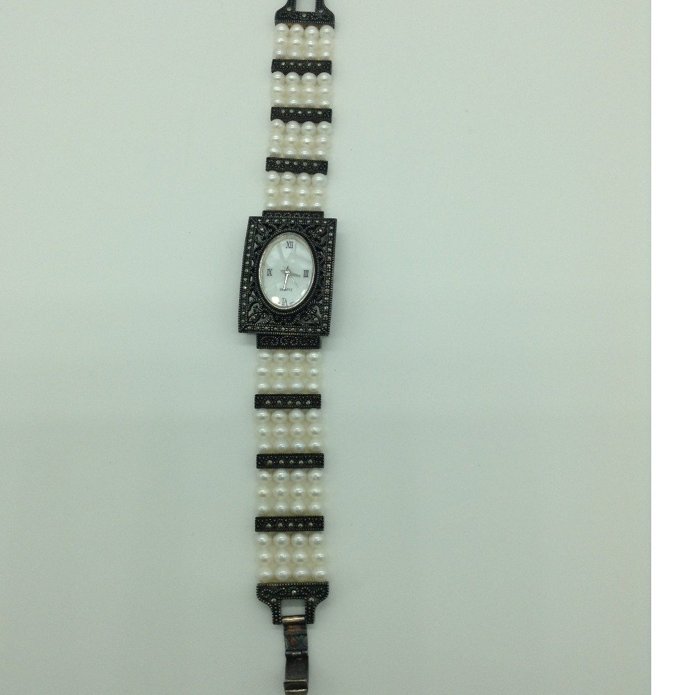 Freshwater White RoundPearls 4Layers Antique WatchJBG0243