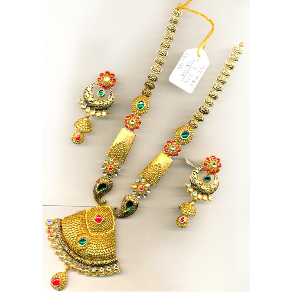 22KT Gold Antique Flower Design Bridal Long Necklace Set-016
